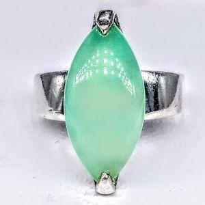 Vint. Sterling Silver Ring Aquamarine Stone